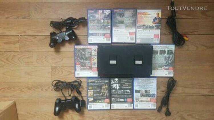sony playstation 2 console de jeu, noire, 8 jeu, 2 manette