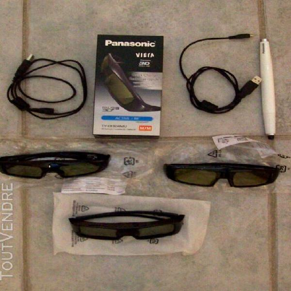Lot de 3 lunettes 3d full hd active panasonic avec 2 câbles
