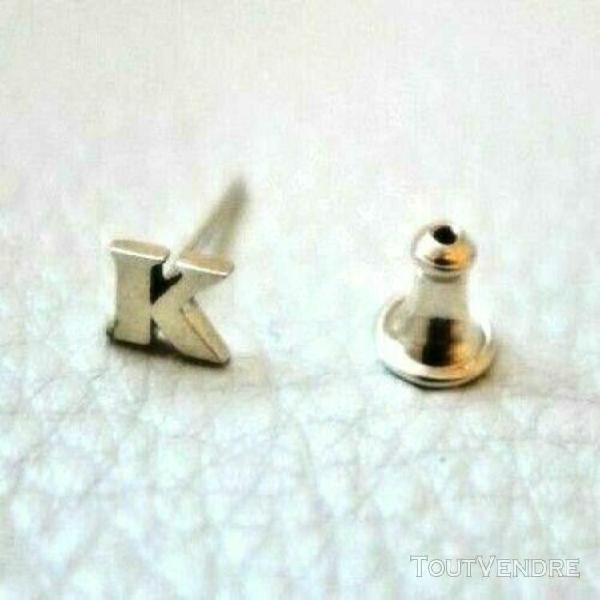 Boucles d'oreilles clou argent sterling silver initial k neu