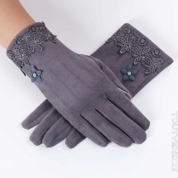 Gant femmes femmes hiver chaud dentelle florale gants polair