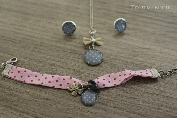 Jolie parure bijoux cabochon gris rose: collier, bracelet,