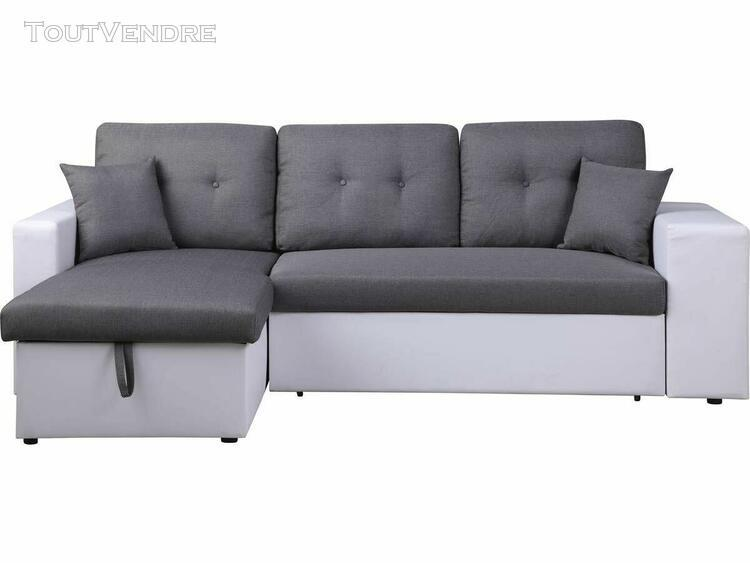 canapé d'angle convertible axel - blanc/gris