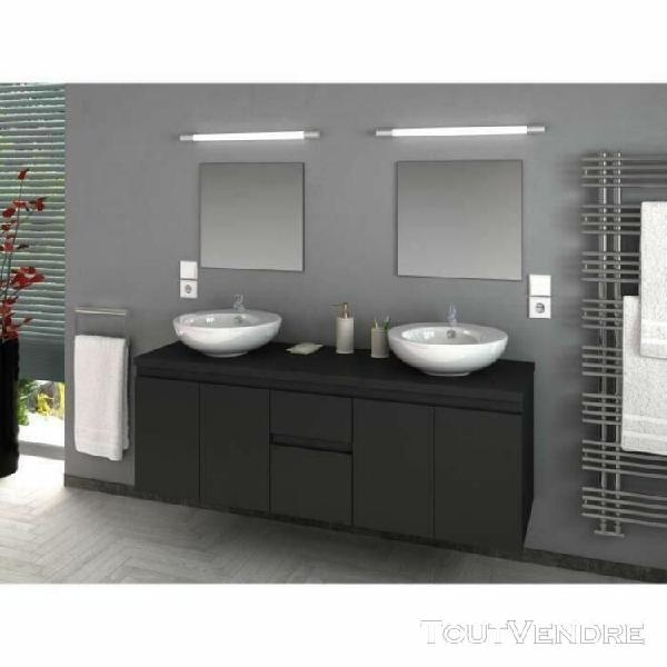 Cina ensemble salle de bain double vasque l 150 cm - gris ma