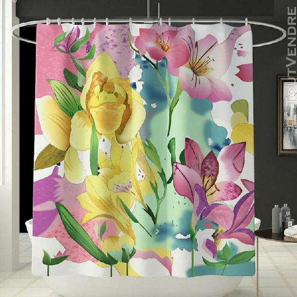 Fleurs rideau de douche salle de bain rideaux de douche crea