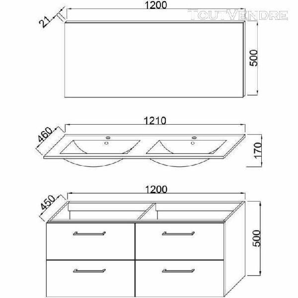 Glossy meuble de salle de bain double vasque l 120cm - gris