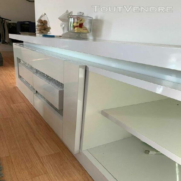 Meuble tv blanc pailleté avec lumières led 140x40x45 cm