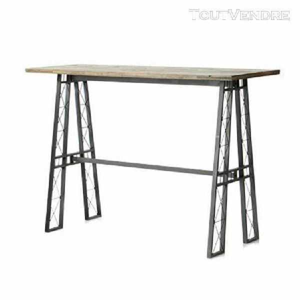 Table de bar 160 cm en sapin et métal - atelier design