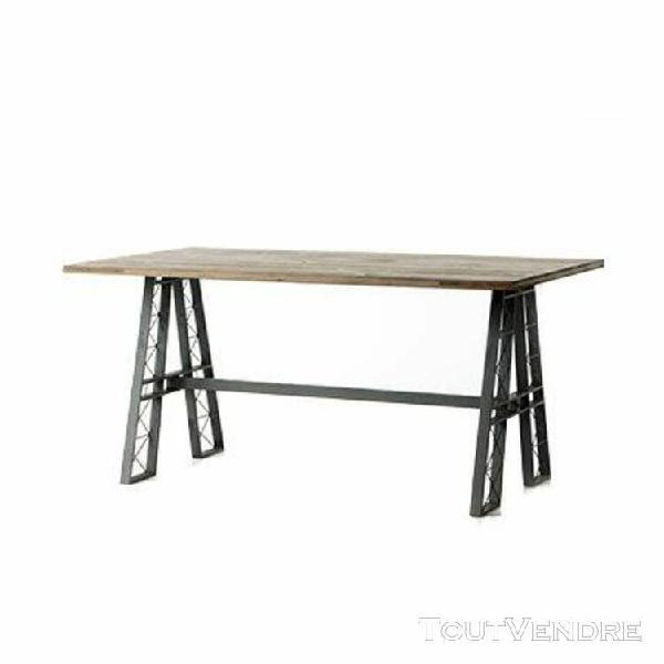Table à manger 160 cm en sapin et métal - atelier design