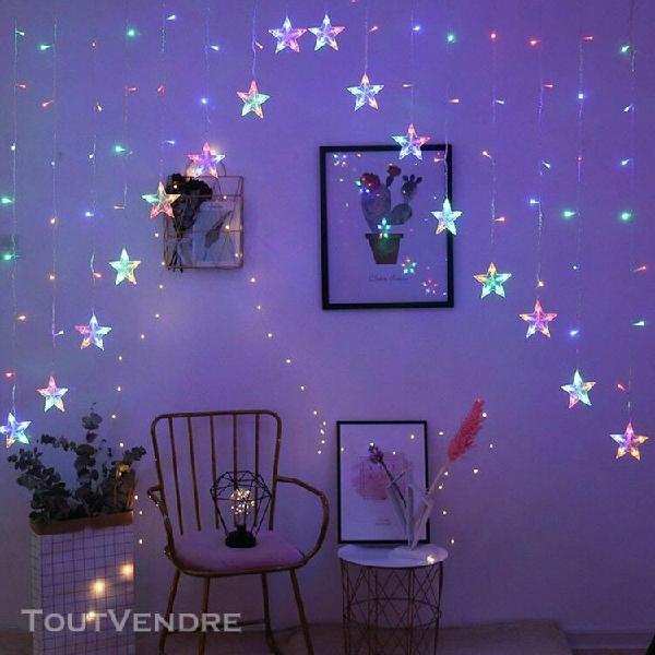 Toile rideaux lumières 16 lumières étoiles fenêtre de