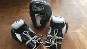 Gants muay thai boxe anglaise metal boxe + casque marque