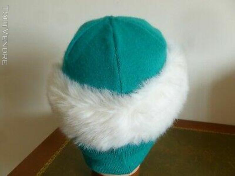 Bonnet cagoule femme lainage vert menthe garniture fourrure