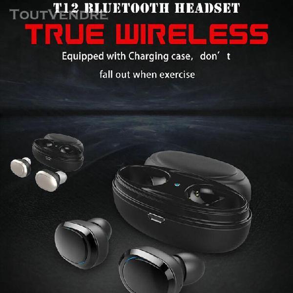 T12 stéréo tws casque sans fil bt écouteur son bqb
