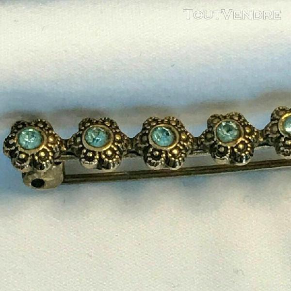 Ancienne broche art déco barrette au décor floral -