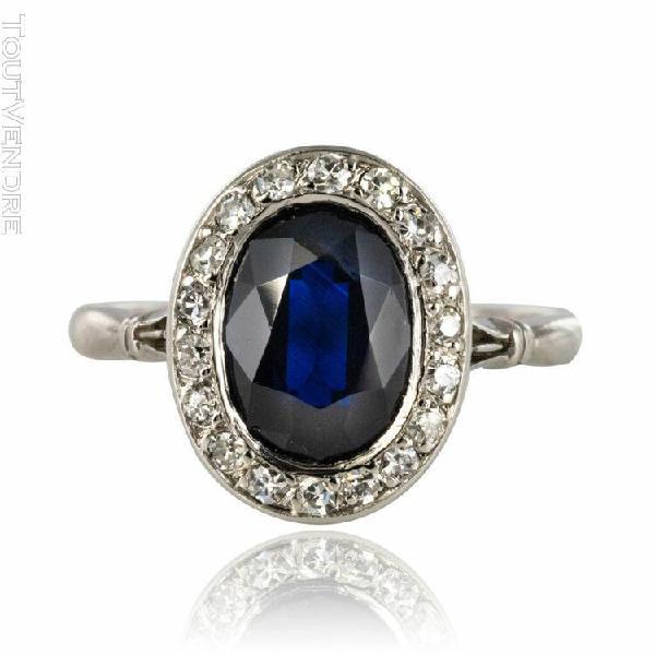 Bague ancienne saphir diamants ovale or blanc moderne / art