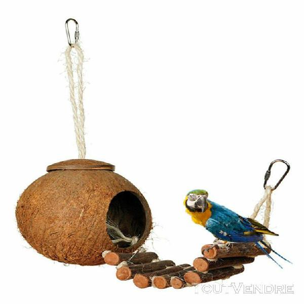 Chelle d'oiseaux en bois balancez toy parrot cage pont