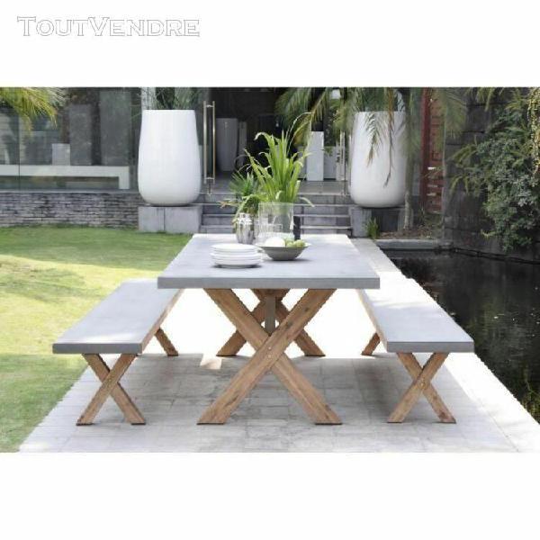 Ensemble repas de jardin en fibre de ciment et acacia laure