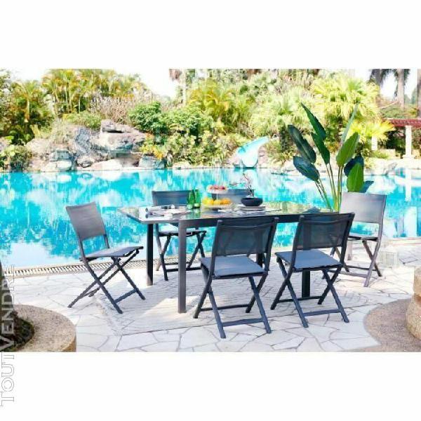 Ensemble repas de jardin - table extensible 120-180 cm + 6 c