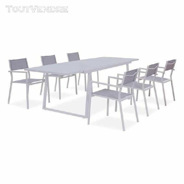 Ensemble repas de jardin - table extensible 160-240 cm et 6