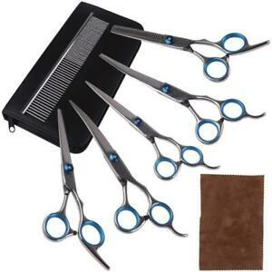 Rcruning-eu ciseaux de chien set (5pcs pet scissors + 1pcs