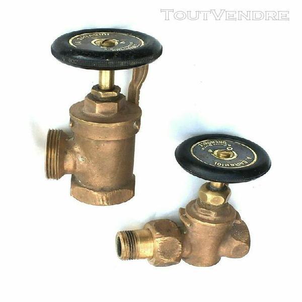 Vintage 2 anciens robinets de radiateur en bronze/laiton