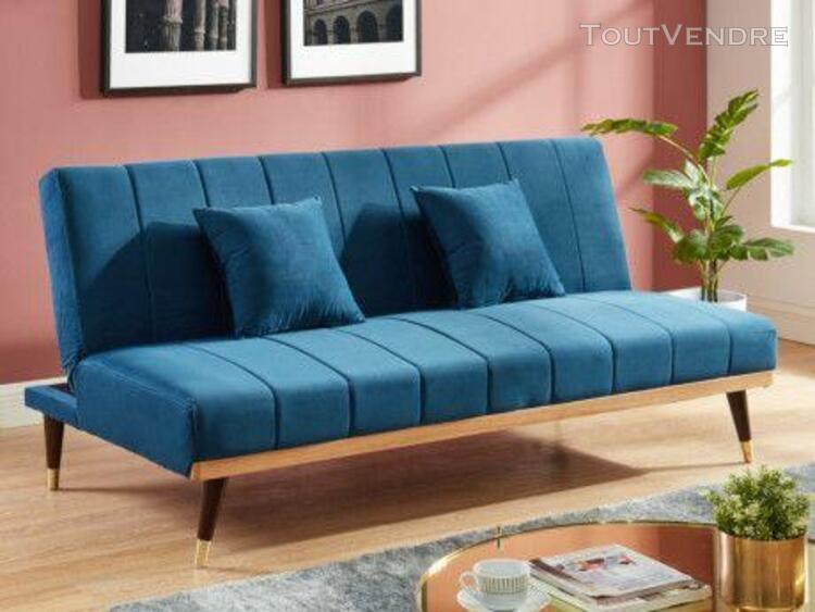 canapé 3 places clic-clac en velours kerbi - bleu roi