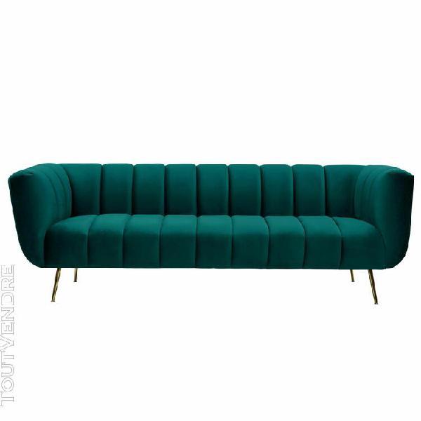 canapé diana 3 places en velours vert