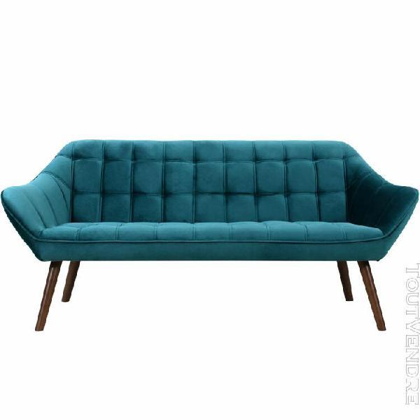 canapé simba 3 places en velours bleu turquoise