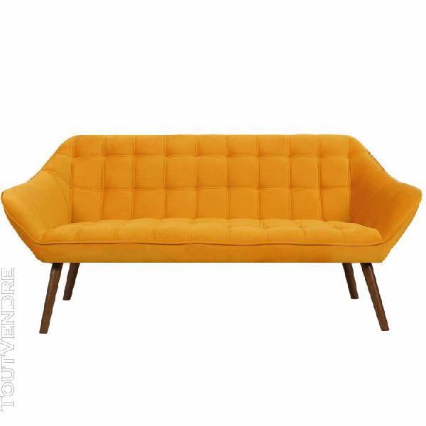 canapé simba 3 places en velours jaune