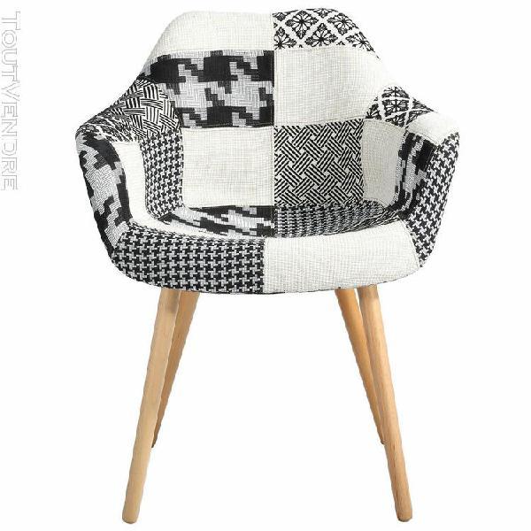 chaise anssen patchwork noire et blanche