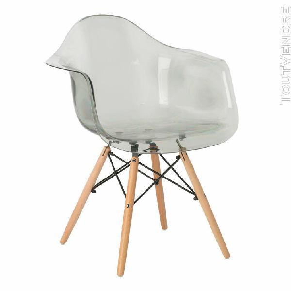 chaise avec accoudoirs brich scand transparente gris fumé