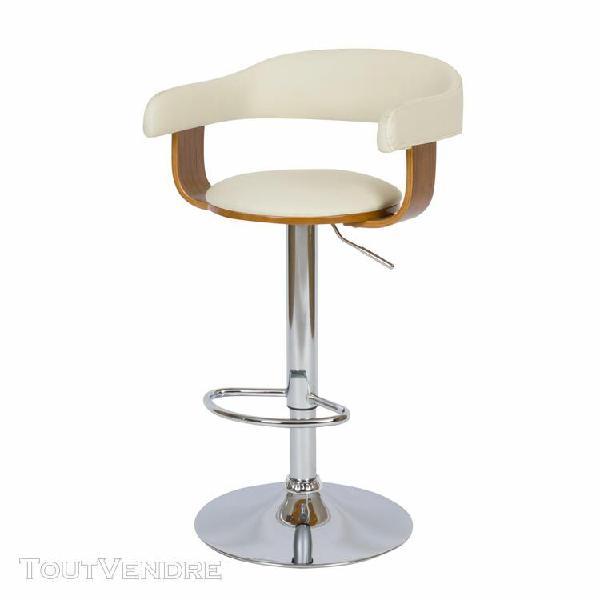 chaise de bar blanche harold avec accoudoirs 59/76 cm