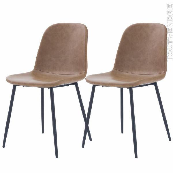 chaise ellipse marron clair (lot de 2)