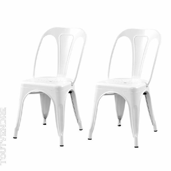 chaise indus blanc mat (lot de 2)