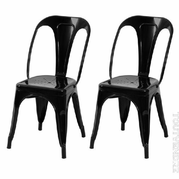 chaise indus noire (lot de 2)