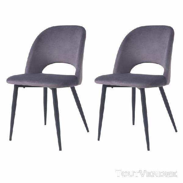 chaise pénélope en velours gris (lot de 2)