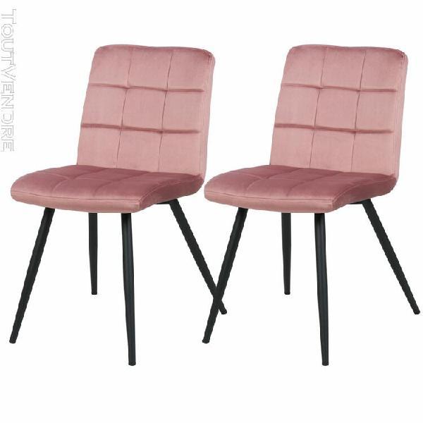chaise zola en velours rose (lot de 2)