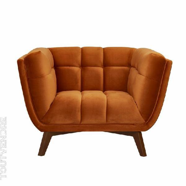 fauteuil mona en velours orange curcuma