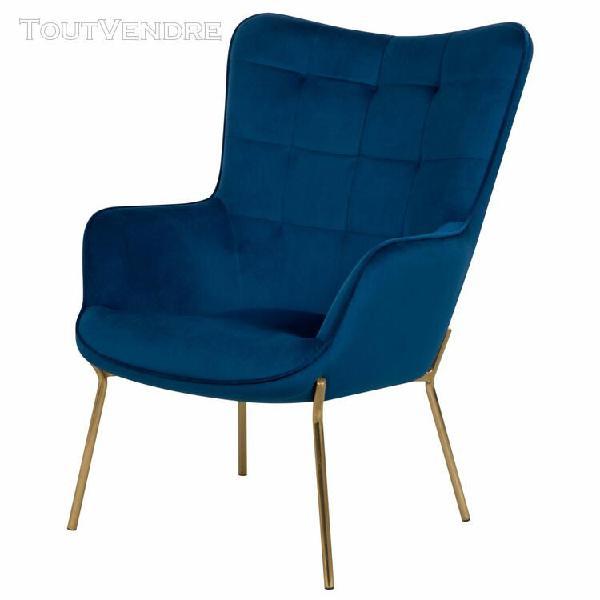 fauteuil octavia en velours bleu foncé