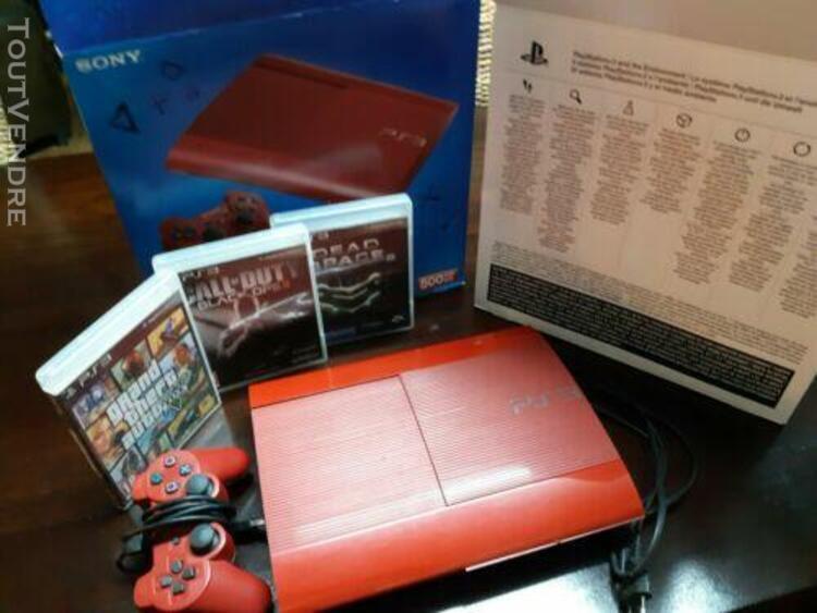 Ps3 ultra slim 500 go garnet red avec boitier + 3 jeux + man