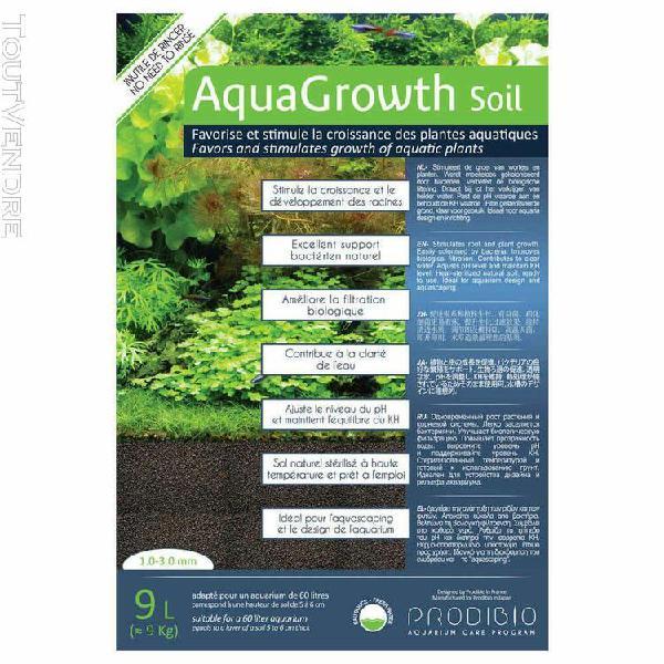Sol naturel aquagrowth soil pour aquarium - prodibio - 9l