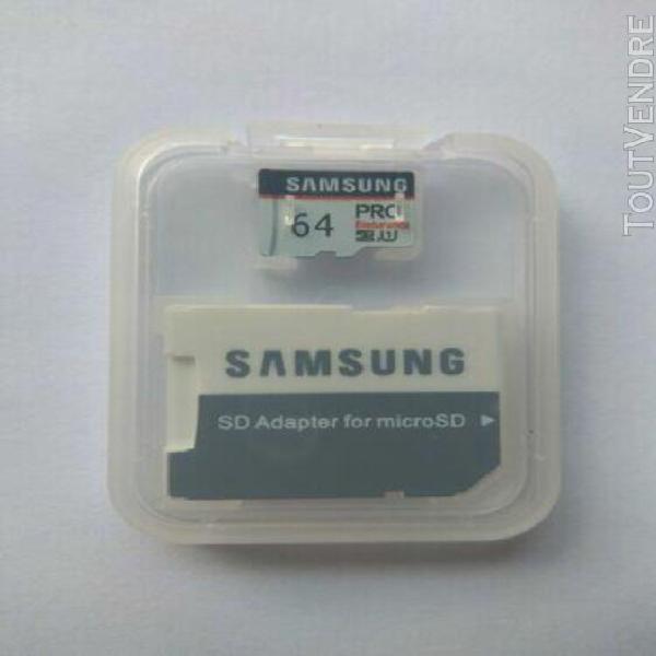 Carte mémoire micro sd sdxc samsung pro endurance 64 go