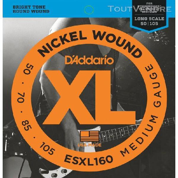 d'addario esxl160, medium, 50-105, cordes longues - jeu guit