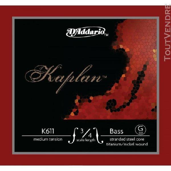 d'addario k611 3/4m - corde seule (sol) contrebasse kaplan,