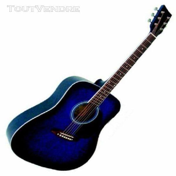 guitare acoustique folk 4/4 coloris bleu