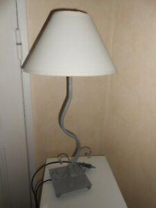 Lampe de chevet métal gris + abat jour ivoire