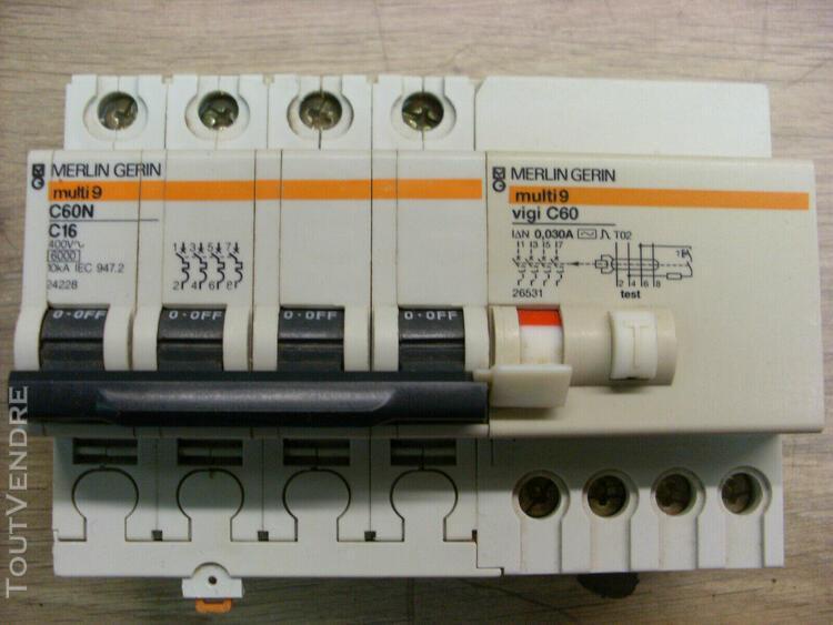 Disjoncteur merlin gerin c60n 4x16a avec differentiel 30ma