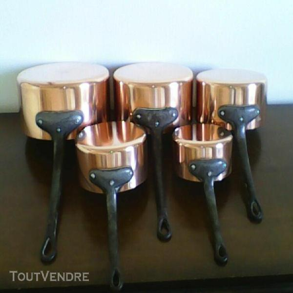 Set of 5 made in france 2mm/1.8mm copper saucepans