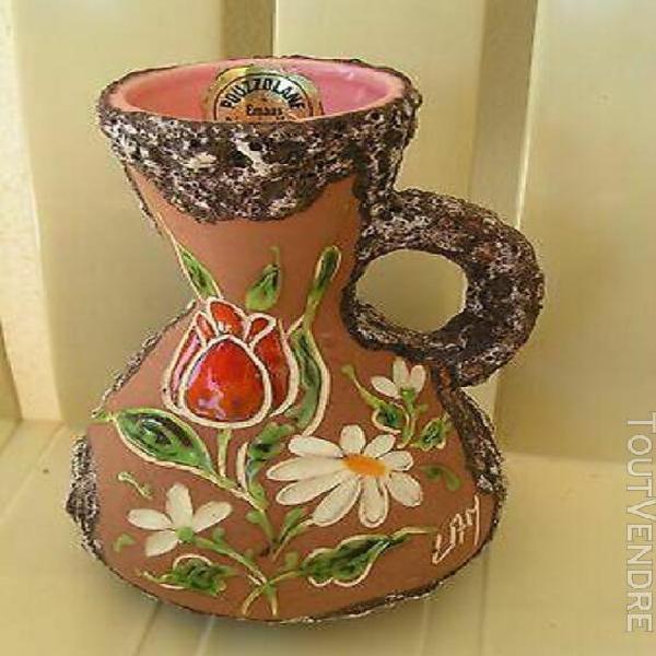 Vase emaux decorés de pouzzolane signé lamarche