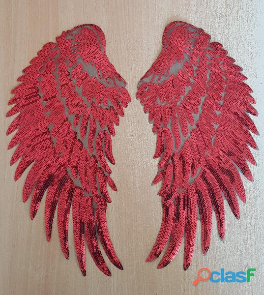 ecusson paire d'ailes rouges 33x17 cm thermocollant