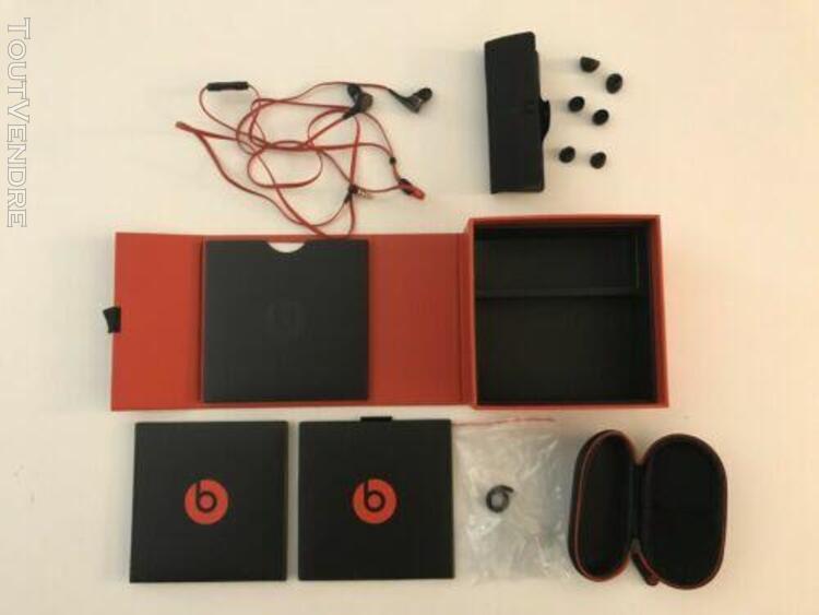 ecouteurs filaires beats rouge et noir coffret complet